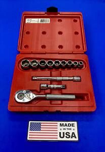 "PROTO Professional Socket Set USA J52128 12-PIECE 3/8"" Drive 6 PT 3/8"" to 7/8"""