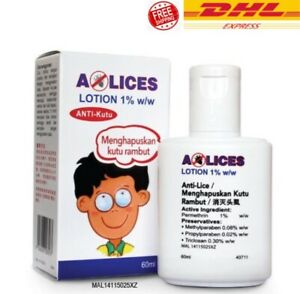 A-LICES Lotion 1% w/w 60ml Anti-Lice Treatment Kills Head Lice & Crab Lice