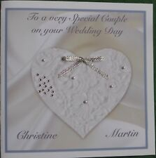 Handmade Personalised Wedding Card Lace Heart Pearls Bow Diamante Lovely Words