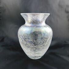 Vintage Clear Crackle Glass Posy Vase Handmade