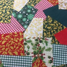 """50 x 5"""" Festive poly cotton fabric patchwork squares Craft Quilting"""