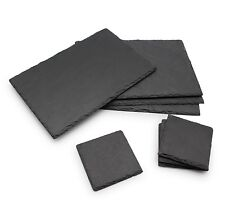 Dining Table Serving Set Natural Slate Board Mat 4pcs Placemats + 4pcs Coasters