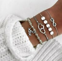 4 teiliges Armband Set Armreif Bohemian Indi Modeschmuck Silber Love Herz Infint