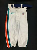 MIAMI DOLPHINS GAME USED WHITE REEBOK FOOTBALL PANTS SIZE 32 WITH BELT