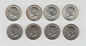 Lot of Eight (8) Kennedy Half Dollars - 1965 1967 1968 1969 1972 1973 1974 1976