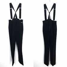 Edelweiss Vintage Black Ski pants Suspenders Womens XS