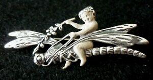 Art Nouveau Style Silver 925 Brooch Of A Dragonfly Ridden By A Cherub / Putti.