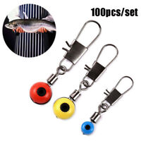 100pcs Fishing Barrel Swivel Solid Ring Interlock Snap Pin Connector