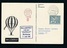 62033) Ballonpost FDA Dolder Schlieren - Winterberg 1.7.56, 5Rp Inland
