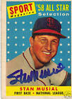1958 Topps #476 STAN MUSIAL Autograph / signed card HOF St Louis Cardinals
