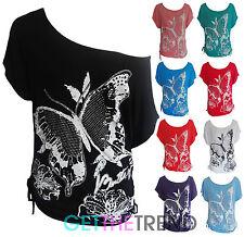 Womens Butterfly Baggy Batwing Top Ladies Butterflies Kimono Top Plus Size 10-28