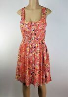 LC Lauren Conrad Dress Size 8 Orange Floral Summer Pleated Sundress Lined