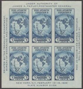 Scott # 735 - U.S. Souvenir Sheet Of 6 - Byrd Antarctic - MNH - 1934