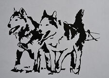 SLED DOG SIPIRT SIBERIAN HUSKIES IN HARNESS STICKER DECAL DOGS HUSKY MALAMUTE