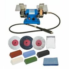 "Pro-Max 3"" 120W Mini Bench Grinder And Metal Polishing Buffing Kit Machine."