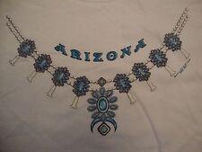 Arizona State Blue Necklace Souvenir White Cotton T Shirt Size L