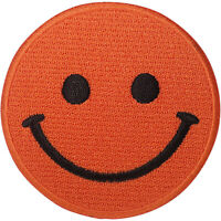 Orange Smiley Face Patch Iron On Sew On Shirt Dress Bag Denim Embroidered Badge