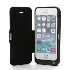 Black External 4200mAh Power Bank with Front Flip Cover For Apple iPhone 5/5s/5c