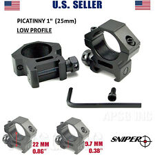 """Sniper 1"""" Dia. LOW PROFILE Rifle Scope Rings Picatinny Mount System, US seller"""