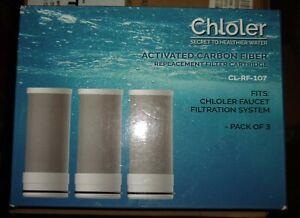 Chloler (3)Pack Water Faucet Carbon Fiber CL-RF-107 Replacement Water Filter