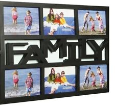 """Large Family 6 Multi Picture Aperture Photo Wall Frame Black 4"""" x 6"""" Collage"""