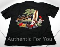 NEW Disney Parks Mickey in Paradise Hawaiian Beach Men's Black Camp Shirt Medium