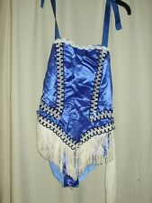 SPARKLY SHOWGIRL BLUE WITH WHITE FRINGE  WITH VERY SPARKLY HAT SIZE WOMEN MED