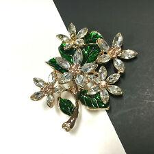 NEW Crystal Rhinestone & Green Enamel MAGNOLIA FLOWERS Floral Gold Brooch M6J