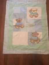BABY Quilted TEDDY BEAR Crib NURSERY Blanket Patchwork Chenille ReversibLE SOFT