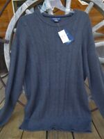 NWT Mens XL Caribbean Joe Sweater - Charcoal Gray - Cable Knit