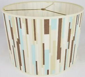 """NEW Drum Lamp Shade 15"""" Dia 10"""" H Contemporary Verticle Stripes Green Fabric"""