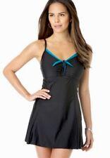 NWT SWIM Dress By Shore Club SZ 14 in Black, One Pc, Tummy Control, Brief