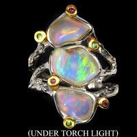 Handmade 4.9ct Fire Opal Tsavorite Sapphire Diamond Cut 925 Sterling Silver Ring