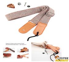 Ukulele Strap Metal Hook Adjustable Nylon Soft Cotton Linen & Genuine Leather
