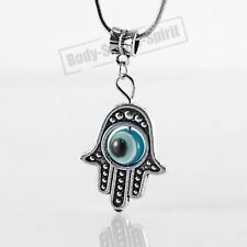 Sky Hamsa Hand of Fatima EVIL EYE Necklace Lucky charm Choker karma god Pendant