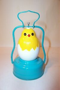 NICE 1950's BATTERY OPERATED CHICK / EGG MILK GLASS EASTER TOY LANTERN JAPAN
