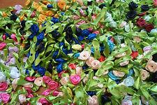 50  ROSELLINE  raso  MISTE foglie verdi CM 3  X DECORARE  BOMBONIERE