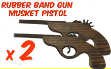 2 x Rubber Band Timber Musket Pistol Gun Launcher Wooden Toy BRAND NEW