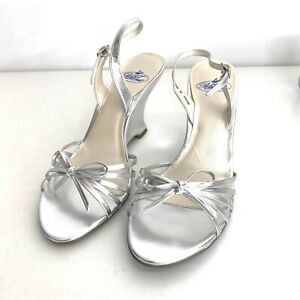 "Blue Tux Bridal ""MAYA"" Wedge Heels Shoe, Silver, Size 7 Medium 7M, EUC"