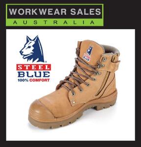 Steel Blue Argyle Zip 332152 Work Boots. Wheat Steel Toe Bump Cap. SteelBlue