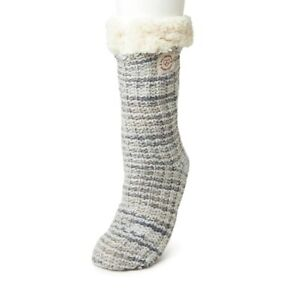 Dearfoams Blizzard SLIPPER SOCKS Gray Space Dye textured Knit