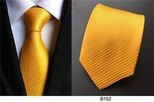 Amarillo Estampado Hecho a Mano 100% Seda Corbata de Boda