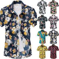 Herren Geblümt Hawaii Hemd Sommer Freizeit Strand Bluse Kurzarm Tee Tops T Shirt