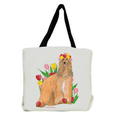 Afghan Hound Dog with Flowers Tote Bag