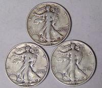 Year Set of 1943 Walking Liberty Silver Half Dollars 1943 1943-D 1943-S Fine