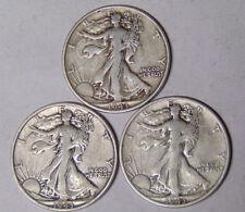 Year Set of 3 Walking Liberty Silver Half Dollars 1943 1943-D 1943-S F/VF