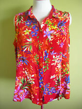 Ladies Womens Red Tropical Sleeveless Button Up Shirt Blouse Top Millers Size 20