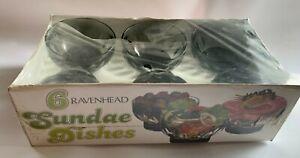 6 x Ravenhead sundae glass retro bowls in original box - BNIB