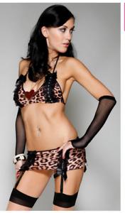 Sexy 3 pc Brown Lusty Leopard Cami Skirt Panty w/ Trim Forplay Lingerie sz M/L