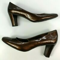 Etienne Aigner Haven Brown Bronze Patent Leather Classic Dress Pumps Size 9.5